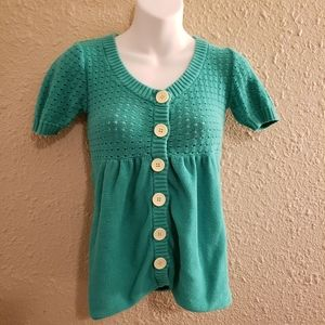 Delia's Emerald Green Button Up Knit Cardigan
